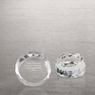 Beveled Circle Crystal Collection - Small Round Paperweight